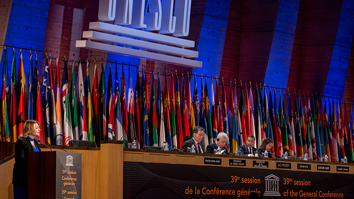 Ambassador and Permanent Delegate of Canada to UNESCO, H. E. Élaine Ayotte, at the 39th General Conference of UNESCO in Paris, November 2017.