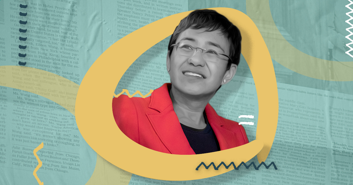 In the center, a black and white picture of Maria Ressa wearing a red blazer. She is surrounded by a yellow circle. The turquoise coloured background is made of newspaper clippings. A few yellow, white, and grey zigzags complete the background.