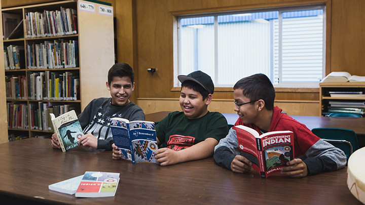 Indigenous boys in Vancouver, Canada enjoy sharing stories from CODE's Burt Award for First Nations, Inuit and Métis winning books.